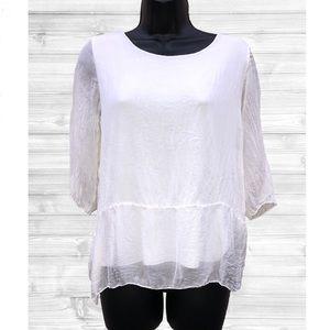 GIUSY | Silk White Italian Blouse | Small